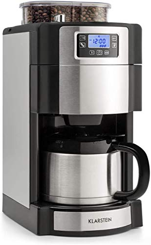 Klarstein Aromatica Nuovo Termo - Coffee Maker, Built-in Activated Carbon Filter, Five-stage Grinder, Drip Protection, Three Aroma Levels: Light, Medium, Strong, 24-hour Timer, 10 Cups, Grey Silver