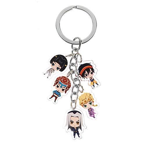 Templom SIX JoJo's Bizarre Adventure Schlüsselanhänger Metallfiguren Anhänger Puppe Japanischer Anime Schlüsselanhänger