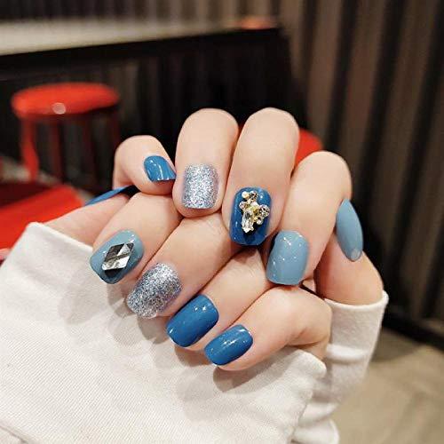 Wangguifu 24 Pcs Brume Bleu Court Rond Populaire Faux Ongles Fille Mode Portable Démontage Couverture Complète Artificielle Colle À Ongles