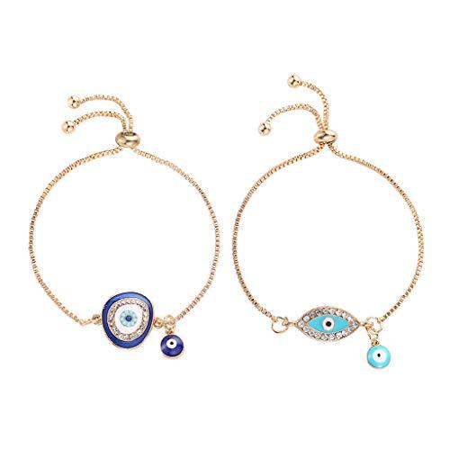 Turkish Lucky Blue Crystal Evil Eye Bracelets Handmade Gold Chains Lucky Jewelry
