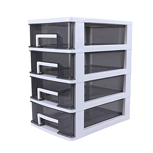 Caja de almacenamiento de escritorio de 4 capas tipo cajón, soporte transparente para cosméticos, caja organizadora de joyas de escritorio (color gris oscuro 4 capas)