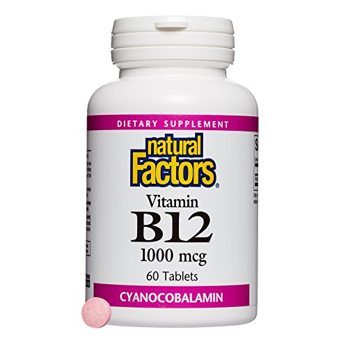Natural Factors - Vitamin B12 Cyanocobalamin 1000mcg, Support for Nerve Function, Energy Production & Red Blood Cells, 60 Tablets