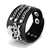 Jovivi Punk Pu Leather Skull Design Bracelet Wristband Adjustable Size 7 to 8 Inches Include a Gift Pouch(Skull Head)