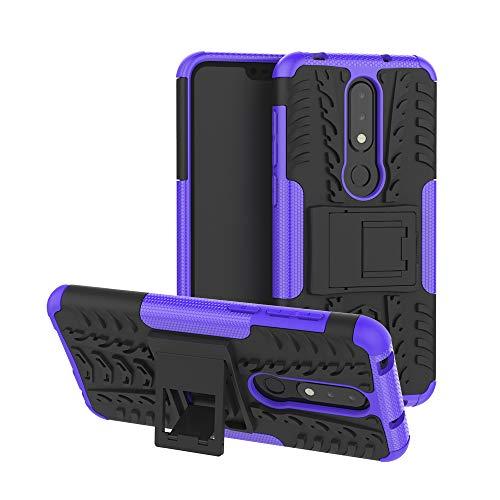 MRSTER Nokia 6.1 Plus Hülle, Outdoor Hard Cover Heavy Duty Dual Layer Armor Case Stoßfest Schutzhülle mit Ständer Handyhülle für Nokia 6.1 Plus (2018). Hyun Purple