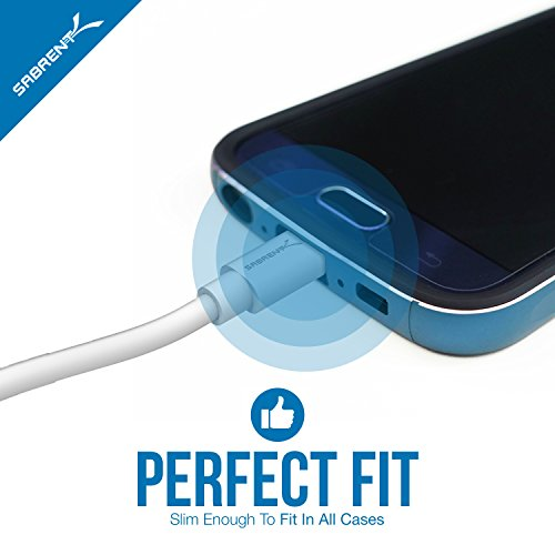 Sabrent [6er Pack 22AWG Premium Micro USB Kabel (X2-1,8m + X2-0,9m + X2-0,3m) High-Speed USB 2.0 A Stecker auf Micro B Sync und Ladekabel [weiß] (CB-MUW3)