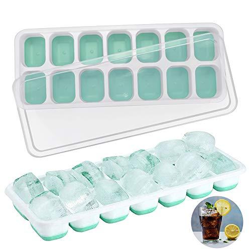 Kbnian 2 Stück Silikon Eiswürfelform mit Deckel, 14-Fach Eiswürfelschale Ice Tray Ice Cube Eiswürfelbehälter Kühl Aufbewahren, ohne BPA, LFGB Zertifiziert, für Wasser, Saft, Cocktail (grün)