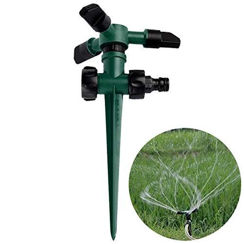 Yinuoday Rociador de jardín con cabezal de rociado automático de 360 rotación de 3 vías boquilla para patio trasero riego, accesorios de riego