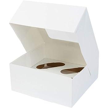 BIOZOYG Cajas para 4 Magdalenas, Cupcake Muffin con Inserto y Ventana de visión Grande I 25