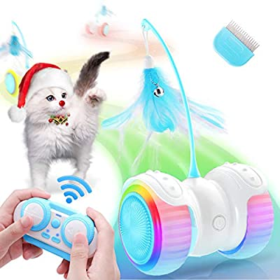 Biilaflor Interactive Cat Toys for Indoor Cats Robotic Cat Toy USB Charging, Automatic & RC Control, Colorful Lights Cat Ball Toy with 6 Feather, Bells, Catnip, Electric Moving Cat Toy for Kitten Fun