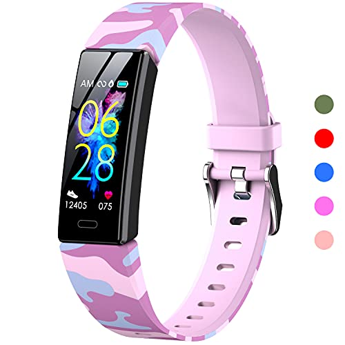 K-berho Kids Fitness Tracker, Fitness Watch Activity Tracker with Pedometers, Heart Rate & Sleep Monitor, Stopwatch, IP68 Waterproof, Smart Band with 11 Sport Modes (Pink Camouflage) 1 Wristband