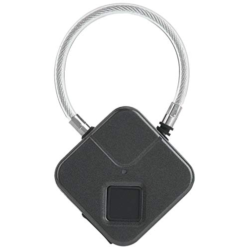 Candado inteligente portátil de huellas dactilares, candado de huellas dactilares con carga USB para el hogar, familia, candado impermeable(negro)