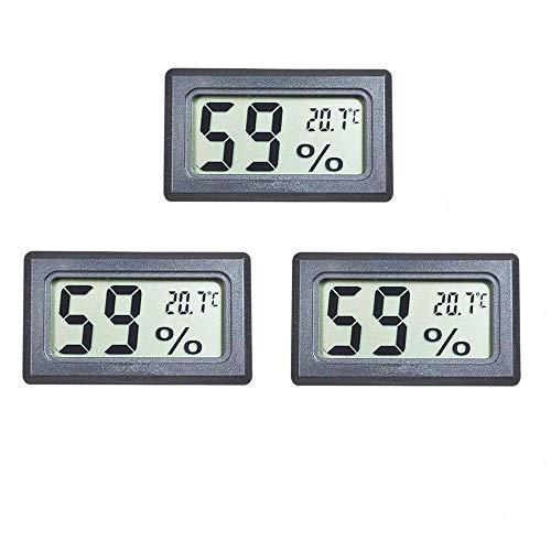 EEEKit 3er-Pack LCD-Digital-Temperatur-Feuchtemessgerät Thermometer, Mini-Digital-Thermometer-Hygrometer und Luftfeuchtigkeitsmesser für Gewächshaus/Autos/Zuhause/Büro (Schwarz)