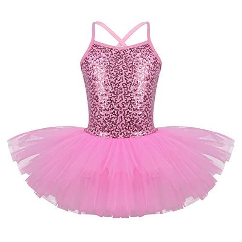 FEESHOW - Vestido de ballet con lentejuelas para niñas de 5 a 6 años