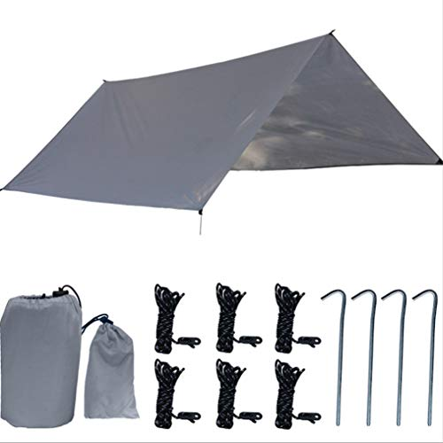 KLFD Hammock Rain Fly Camping Shelter Sunshade, 300X300cm Oxford Cloth Lightweight Waterproof Snowproof Durable Compact Portable Tent Tarp, for Hiking Beach Fishing Picnic Outdoor,Gray