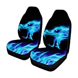INTERESTPRINT Custom Blue Fiery Dragon Car Seat Covers for Front of 2,Vehicle Seat Protector Car Mat Fit Most Car,Truck,SUV,Van