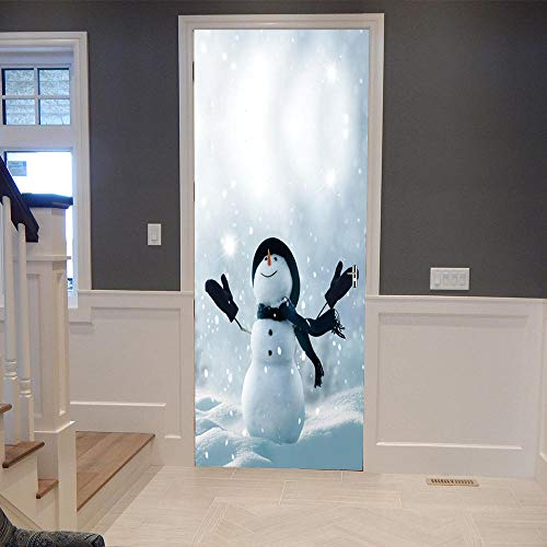 3D Mural para Puerta 77x200cm Autoadhesivo Impermeable Papel Pintado Puerta para Sala de Estar Baño Cocina Extraíble Vinilo Adhesivo de Pared,Decoración del Hogar - Monigote de Nieve