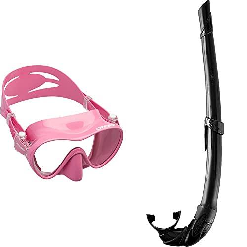 Cressi F1 Mask Máscara Monocristal Tecnología Frameless, Unisex, Rosa + Corsica Eg268550, Tubo Respiradores para Apnea, Snorkeling