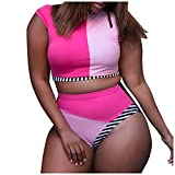 A2A Plus Size Tankini Swimsuit for Women Stripe Bathing Suit Top with Shorts Athletic 2 Piece Swimwear Loose Beachwear Hot Pink