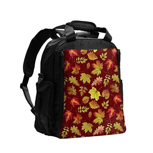 Ausgefallene Wickeltasche Rucksack Herbst Ahorn Blätter und andere Blätter Wickeltasche Windel Multifunktions-Reiserucksack mit Windel Wickelunterlage für die Babypflege