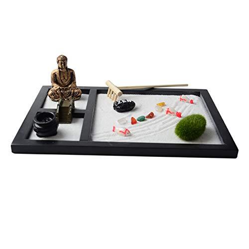 gerFogoo Zen Garden Kit de incienso para jardín, arena, musgo, piedras, mesa Zen Rock Jardín, Meditación, Estatua Decoración del hogar, Regalo Meditación, Relájate