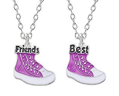 Collares para dos zapatos colgante del esmalte fucsia y blanco con mejores escritos - Amigos - Los mejores amigos - Día corazón de la muchacha Mujer joyería de plata regalo Idea de Amica