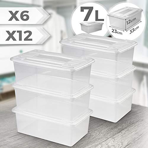 Aufbewahrungsbox Set - 6er oder 12er Set, aus Plastik, transparent, stapelbar, mit Deckel, ca. 33 x 23 x 11.7 cm - Schuhbox, Schuhkarton, Kunststoffkiste, Schuhaufbewahrung, Box, Kunststoffbox, Plastikbox (6er)
