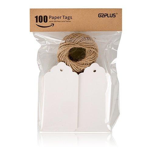 G2PLUS 100Stk. kraftpapier Etiketten Tags 5CM *10CM Geschenkanhänger Anhänger Etiketten mit Jute-Schnur 30 Meter