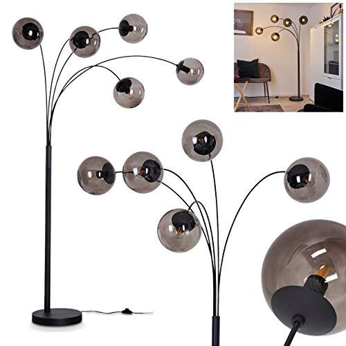 Stehleuchte Mesas, Bodenlampe aus Metall in Schwarz, 5-flammige mit Rauchglas-Kugeln, 5 x E14 max. 28 Watt, moderne Standlampe mit Fußschalter, auch geeignet für LED Leuchtmittel