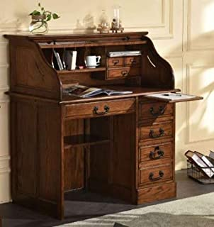 Small Student Roll Top Desk - Solid Oak Wood Single Pedestal 42Wx24Dx45H Home Office Organizer Quality Crafted Construction Locking File Drawers Dovetailed Secretary Desk Easy Assembly