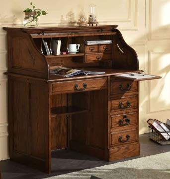 Small Home Office or Student Roll Top Desk- Solid Oak Wood Single Pedestal 42Wx24Dx45H BW Organizer Desk Quality Crafted Construction Locking File Drawers Dovetailed Secretary Desk Easy Assembly