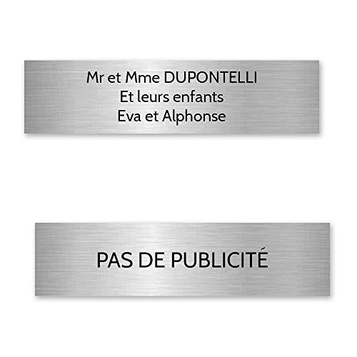 Plaque nom + Plaque Stop Pub pour boite aux lettres format Decayeux (100x25mm) gris argent lettres noires - 3 lignes - Plastique - 2,5