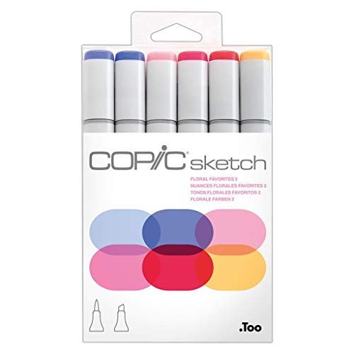 COPIC Marker sketch, 6er Set ´Floral Favorite 2´, Sie erhalten 1 Packung, Packungsinhalt: 6 er Set