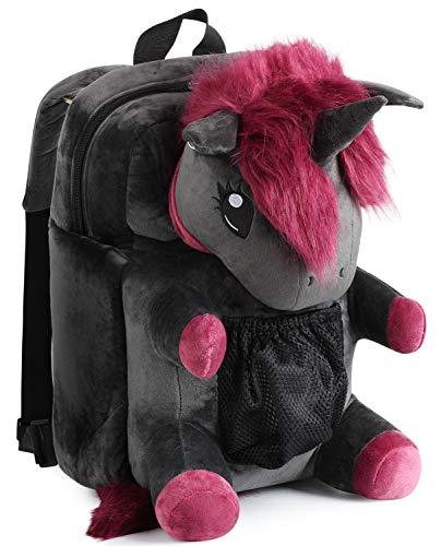 """corimori 1857 Punk-Einhorn """"Ruby"""" - großer, flauschiger Plüsch-Rucksack für Kinder und Erwachsene - schwarz / pink"""