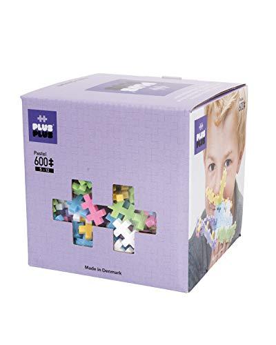 PLUS PLUS - Open Play Set - 600 Piece - Pastel Color Mix, Construction Building Stem Toy, Interlocking Mini Puzzle Blocks for Kids