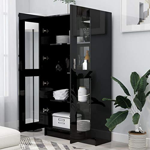 GOTOTOP Mueble con vitrina salón | Aparador cocina | Armario lateral | Mueble lateral multiusos | con 4 compartimentos y 2 puertas | 82,5 x 30,5 x 150 cm negro brillante