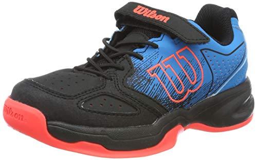 Wilson KAOS K, Zapatilla de tenis, para todo tipo de superficies, tenistas de cualquier nivel para niños, azul/negro/rojo, número 28 EU