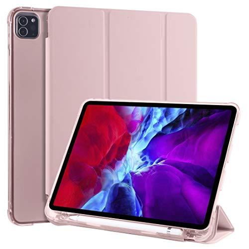 LESLEY LM For 3-folding Horizontal Flip PU Leather + Shockproof TPU Case with Holder & Pen Slot iPad Pro 11 (2020) / iPad Pro 11(2018) 2021 NEW MODEL (Color : Pink)