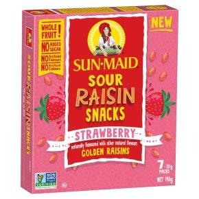 Sun-Maid Sour Rosine Snacks Erdbeere – Golden Rosinen – natürlich aromatisiert mit anderen natürlichen Aromen, 7 x 20 g (Nettogewicht 140 g)