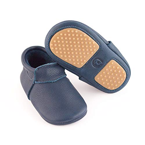 YugYug Krabbelschuhe für Baby (Pure) - rutschfeste Baby Schuhe mit Noppen, Lauflernschuhe für Mädchen & Jungs, Lederschuhe in Größe: 20, Farbe: Dunkelblau