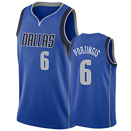 KJUY Herren Basketball Trikot Dallas Porzingis #6 Retro Classic Sleeveless Bestickt Basketball Weste T-Shirt