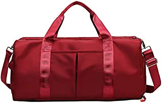 Gym Sports Travel Weekender Duffel Bag with Shoe Compartment and Wet Pocket for Women and Men (Red)