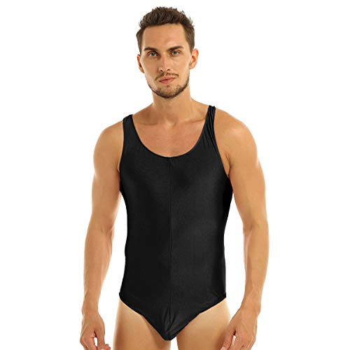 vastwit Herren Einteiler Wrestling Singlet High Cut Thongs Leotard Bodysuit Bikini Bademode - Schwarz - Medium