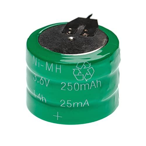 vhbw NiMH Batería de botón de Repuesto Tipo V250H 250 mAh 3,6 V Compatible para lámparas solares, etc.
