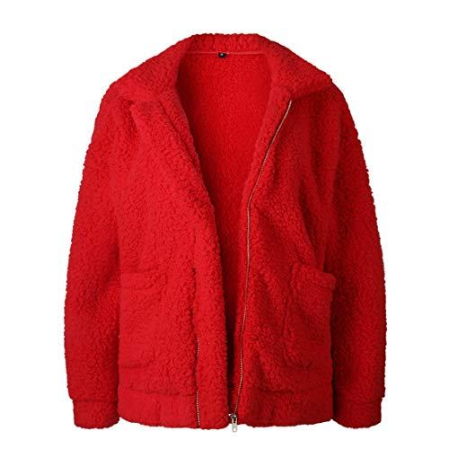 SHYY Jacke Damen Sweatshirt Locker Casual Einfarbig Flauschiger Fleece Mantel Zip Langarm Mit Taschen Kuschelig Cardigan Mantel Herbst Winter Warm Tops XL