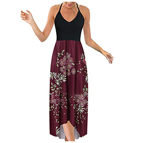 AFFGEQA Damen Slingkleid Blumenkleid Sommerkleider Schulterfrei Kleider Einfarbig Etuikleid Tunika Lose Beiläufig Elegant Strandkleider Abendkleid Maxikleid