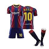 メッシ サッカーユニフォーム FCバルセロナ ホーム 背番号10 レプリカサッカーユニフォーム 大人/子供用 ジュニア (Size : 22)