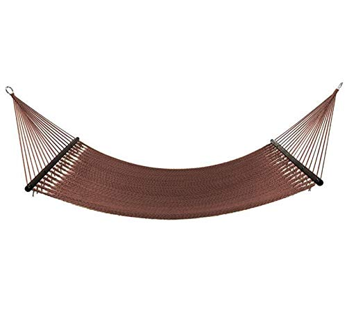 Project One 10FT Polyester Soft-Spun Rope Hammock, 51inch Large Double Wide Two Person with Spreader Bars - for Outdoor Patio, Yard, and Porch (Mocha)