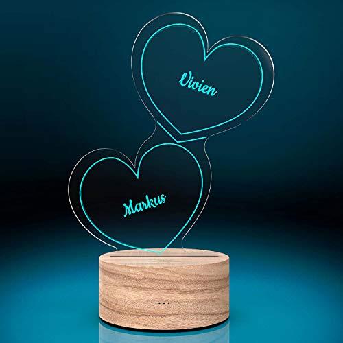 Smyla Personalisierte Herz-Leuchte mit Namensgravur | Romantisches LED-Herz mit Namen und Farb-Lichtern als Partnergeschenk | LED-Lampe mit Gravur| Deko Wohnzimmer | 7 Farben