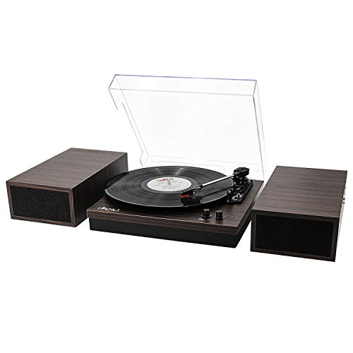 LP&No.1 Retro Belt-Drive Bluetooth Turntable with Separable Stereo Speakers,3 Speed Vinyl Record Player,Dark Brown