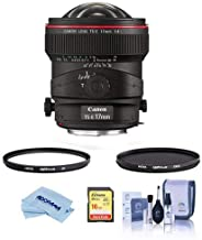 Canon TS-E 17mm f/4L Tilt-Shift Manual Focusing Lens for EOS USA - Bundle with Hoya 77mm 10-Layer HMC UV Filter, Hoya 77mm HMC Circular Polarizer Filter, 16GB SDHC Card, Cleaning Kit, M/Fiber Cloth